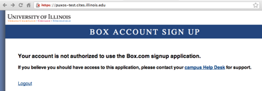 You are not authorized to sign-up for Box screen