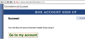 Box account sign-up success page